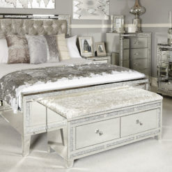 Diamond Glitz 2 Drawer Crushed Velvet Bench