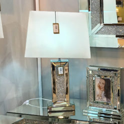 Diamond Glitz Mirrored Bricks Table Lamp 17""