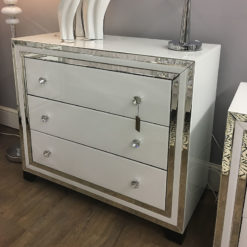 Madison White Glass 3 Drawer Chest