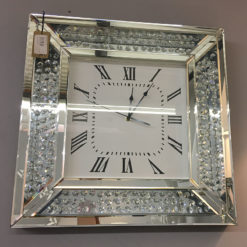 Floating Crystal Glass Mirrored Wall Clock