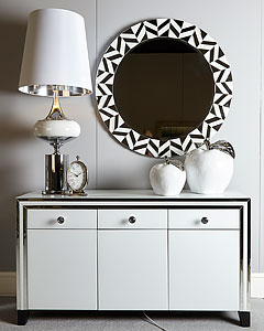 Crackle Glass 4 Drawer 2 Door Mirrored Cabinet