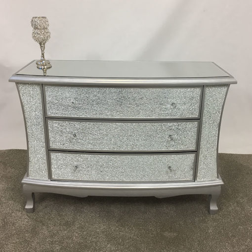 Silver Crackle Glass Large 3 Drawer Chest