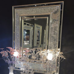 Silver Crackle Glass Oblong Wall Mirror