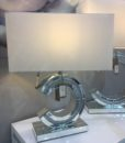 Diamond Glitz Mirrored Reverse 'C' Table Lamp Small